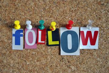 Follow Pinnwand Slogan / Follow Pinboard Slogan