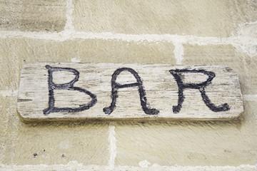 Wood bar sign