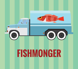 Fishmonger truck - vector drawing