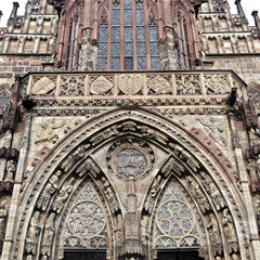 Facade fragment of Frauenkirche Nuremberg Germany