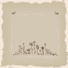 Vector floral frame. Floral background. Vintage illustration