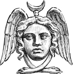 architectural detail in form of the woman face