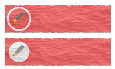 set of two banners with crumpled paper and pencil