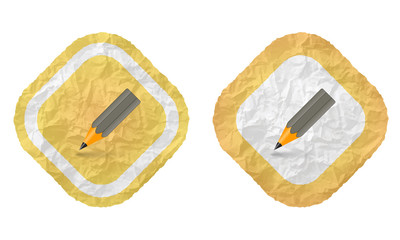 two frames with texture crumpled paper and pencil