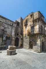Typical old Sicilian houses in Forza d'Agro, Sicily