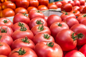 Fresh tomatoes in a market stall in Poland.