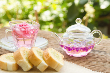 tea setting and homemade garlic bread and in the garden,afterno