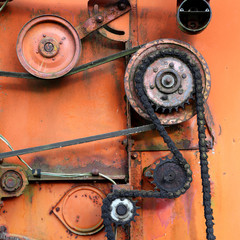 rusty colorful detail of an old combine harvester