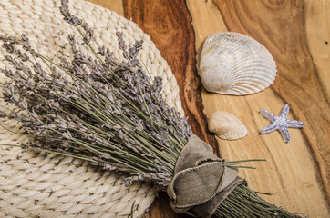 summer treasures: lavender, seashells, starfish