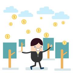 Success businessman with cloud raining down dollar
