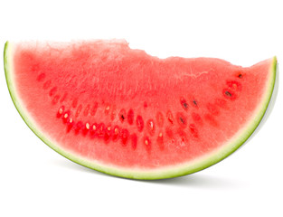 Sliced ripe watermelon isolated on white background cutout