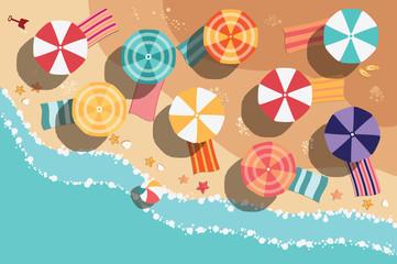 Summer beach in flat design, aerial view, sea side and umbrellas