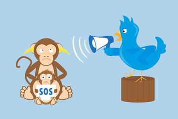 Blue bird is shouting through a megaphone on monkeys
