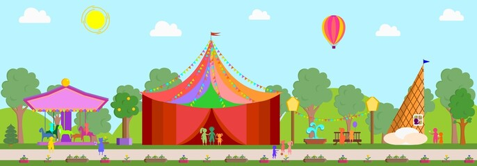 Circus, carousel, fountain, ice-cream booth