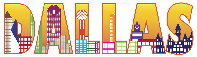 Dallas City Skyline Text Outline Color Vector Illustration