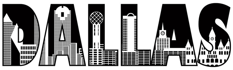 Dallas City Skyline Text Outline Black and White Illustration