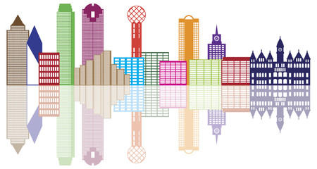 Dallas City Skyline Color Outline Vector Illustration