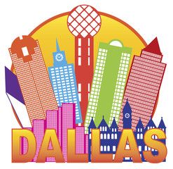 Dallas City Skyline Color Circle Vector Illustration