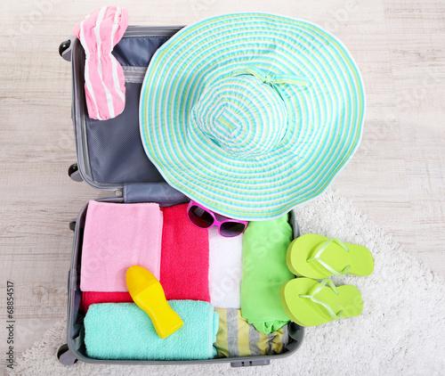 Leinwandbild Motiv Suitcase with things