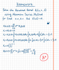 Resolvent kernel using Neumann Series method hand drawn on