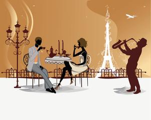 Romantic couple drinking coffee in the Paris restaurant