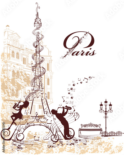 Romantic Eiffel Tower decorates with musical stave - 68855141