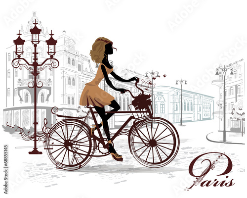 Fashion girl rides a bicycle, decorated with a musical stave