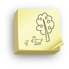 Post-it arbre et animaux