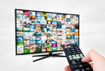 Widescreen high definition TV screen with video gallery. Remote