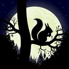 Silhouette of the squirrel on the background of the moon.