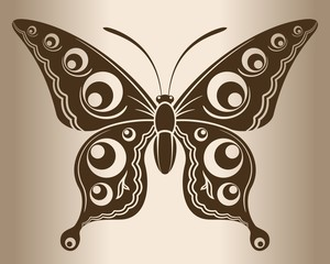 Monochrome butterfly. Decorative pattern of a butterfly.
