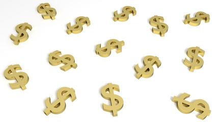 3D Dólares de ouro sob fundo branco