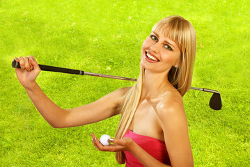 Girl goes golfing with happy smile