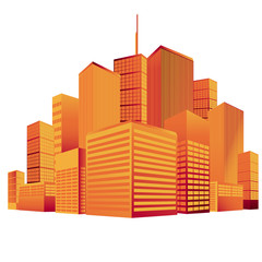 City, skyline, vector, silhouette