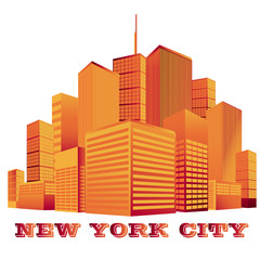 City, skyline, vector, silhouette, New York