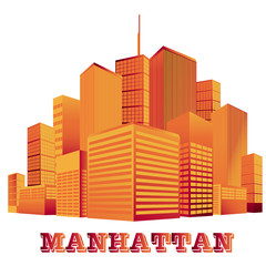 City, skyline, vector, silhouette, New York, Manhattan
