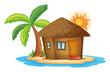 A small nipa hut in the island - 68858555
