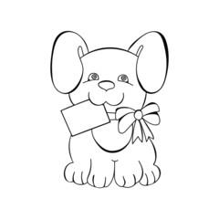 contour dog with a card
