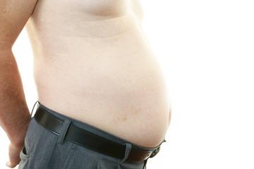 肥満気味の男性のお腹