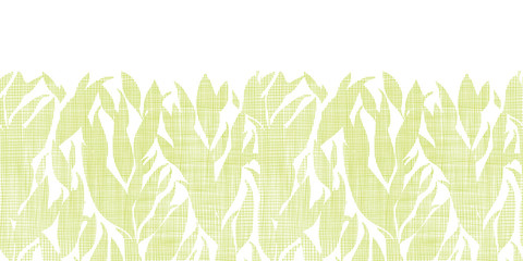 Green leaves textile texture horizontal seamless pattern