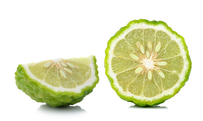 Kaffir lime slice isolated on white background