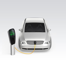 Electric car charging at EV charging station