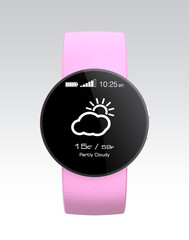 Pink smart watch display  weather information