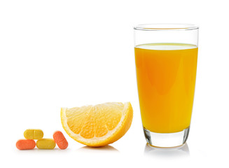 Fresh orange and glass with juice and vitamin c isolated on whit