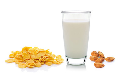 cornflake milk and almond isolated on white background
