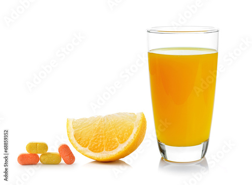canvas print picture Fresh orange and glass with juice and vitamin c isolated on whit