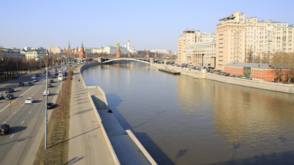 Prechistenskaya Quay, Great Stone Bridge, Moscow Kremlin (the ki