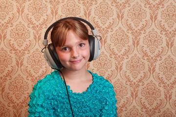 Grade School Girl with  Retro Headphones