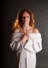 Redhead in White Bathrobe bare shoulders