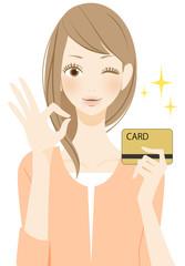 カードを持つ女性 OK